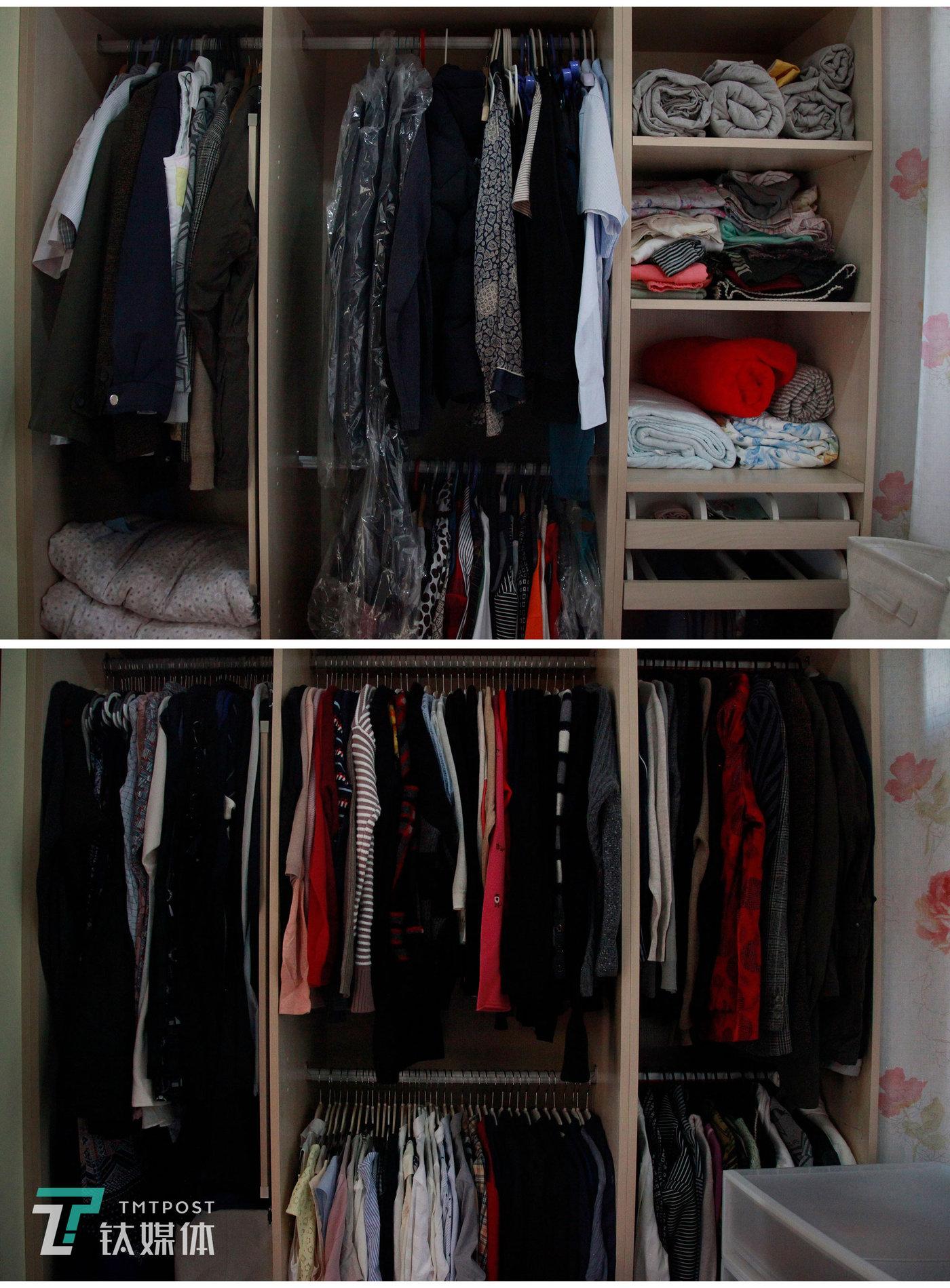 衣橱整理前后局部对比图。