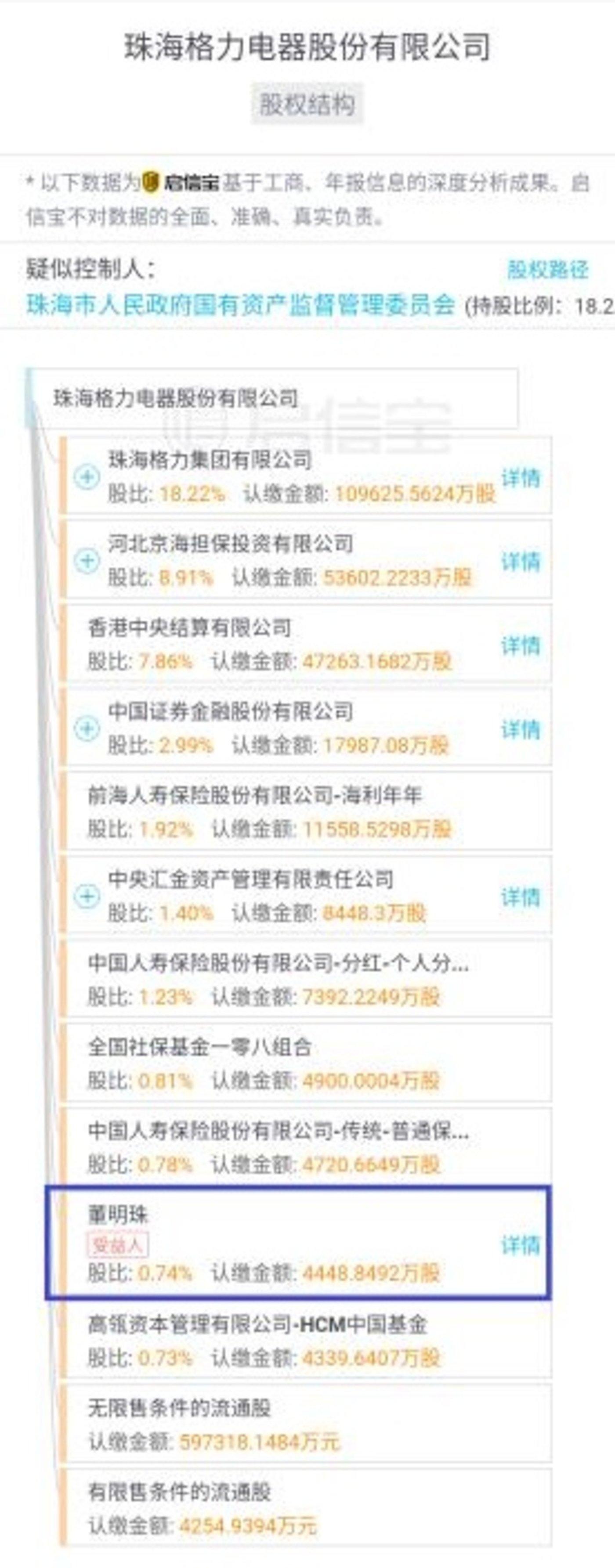 """格力电器股东一览(来源""""某企业信息查询平台"""")"""
