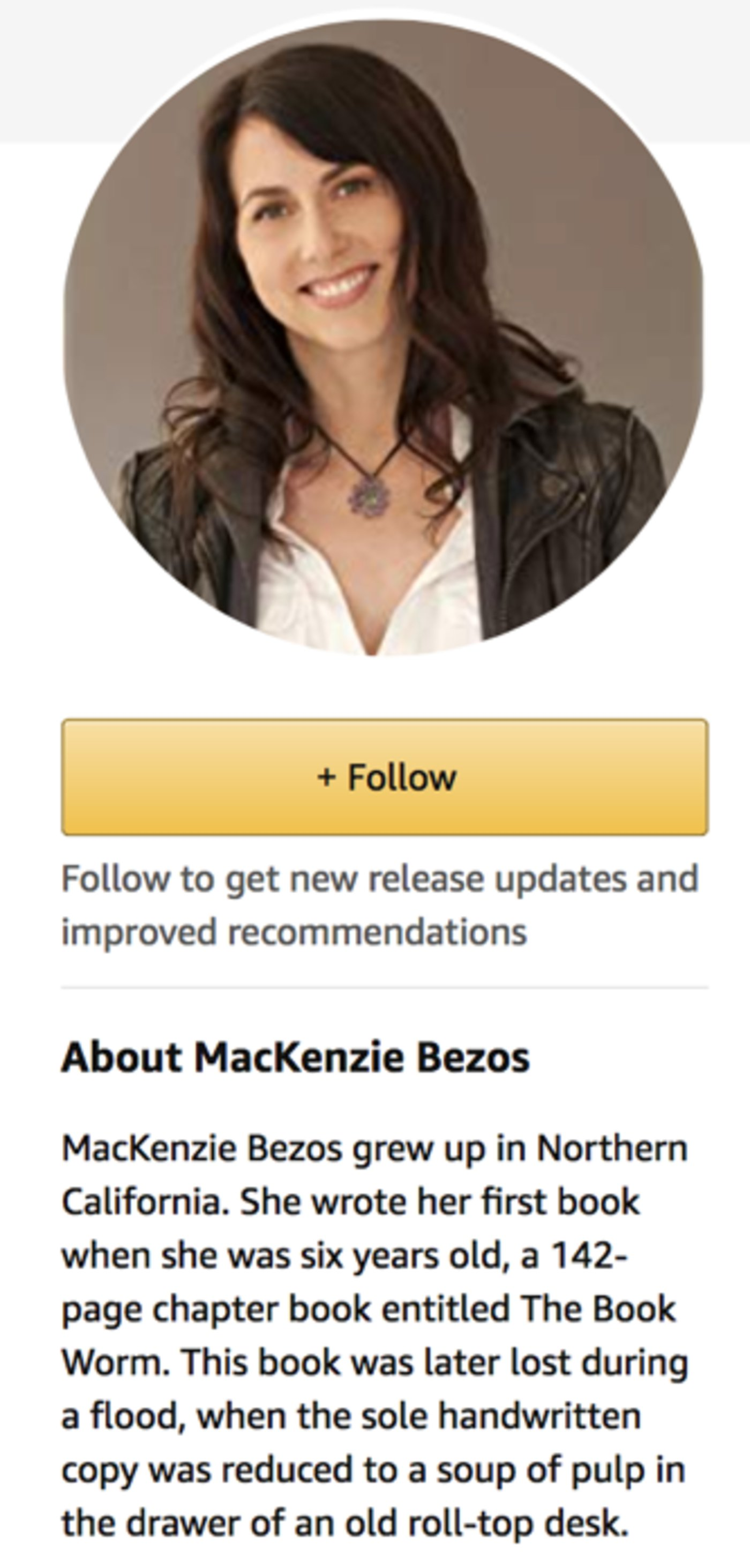 麦肯齐在亚马逊网站的主页