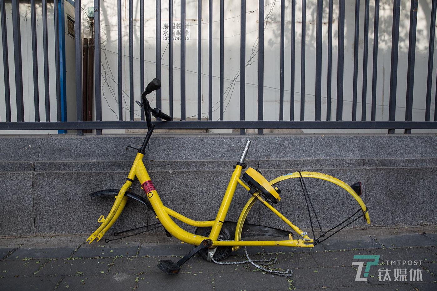 【小黄车】4月12日,北京,中国传媒大学校园外,一辆被拆掉轮子和座椅的小黄车。