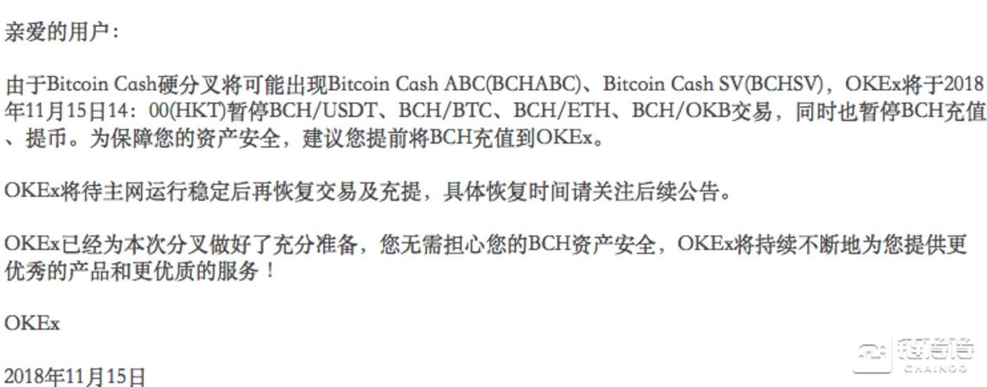 OKEx关于暂停部分BCH交易的公告