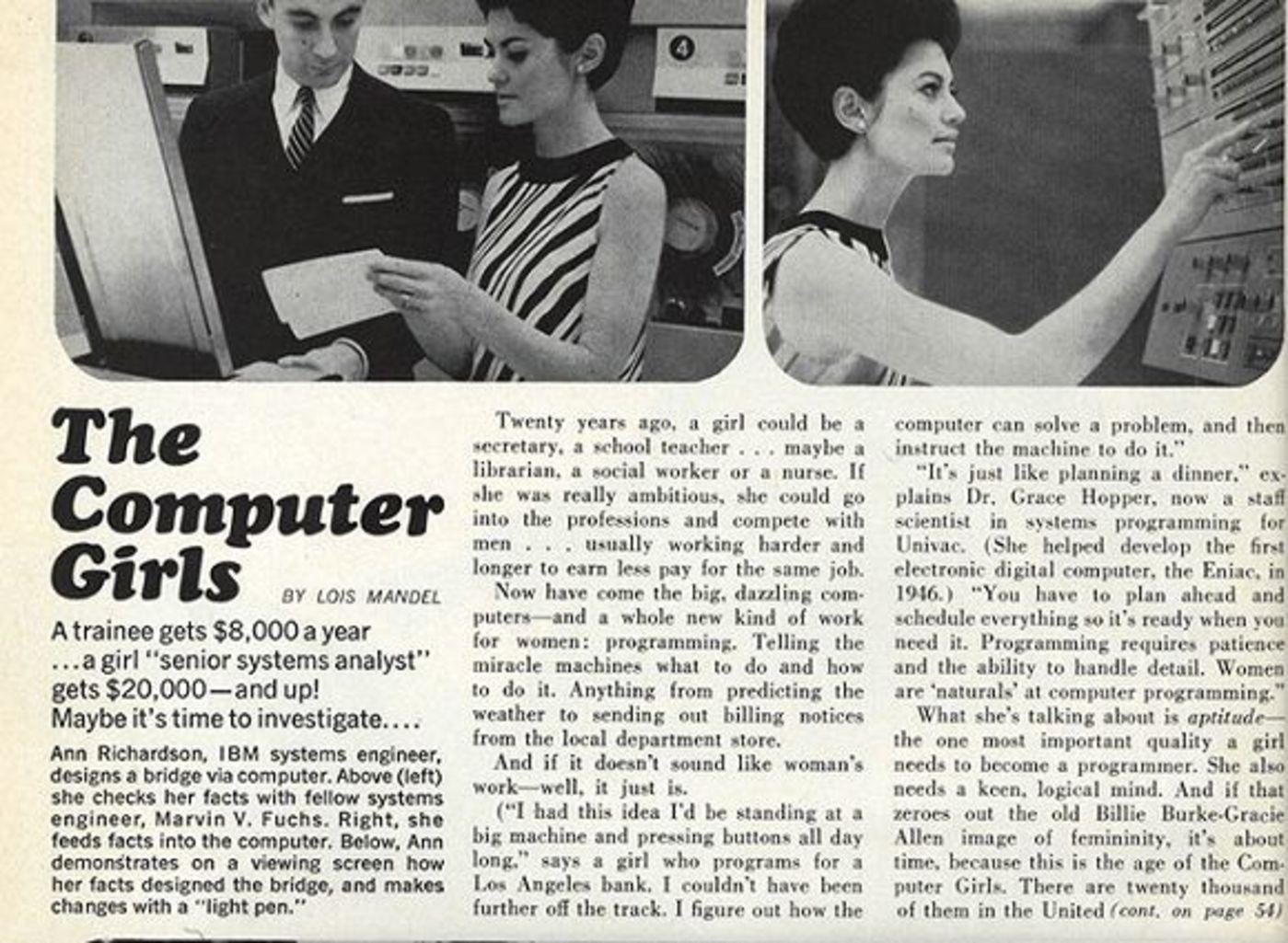 1967年,《时尚COSMO》杂志刊登文章《计算机女孩》/Siliconrepublic