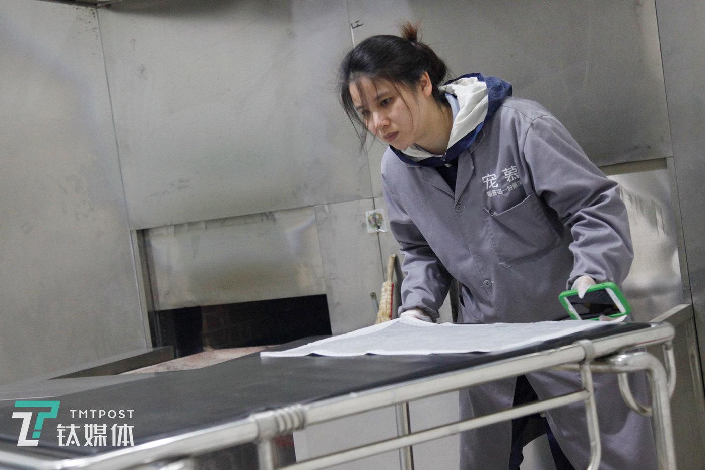 3月19日,北京,宠物殡葬师莫莫准备清理放置宠物遗体的手推车。莫莫2018年开始做宠物殡葬,在那之前有6年时间她一直从事人的殡葬服务,转行是因为她养了7年的哈士奇:爱犬一天天衰老,莫莫想在它离开那天亲手送走它,于是转行宠物殡葬。