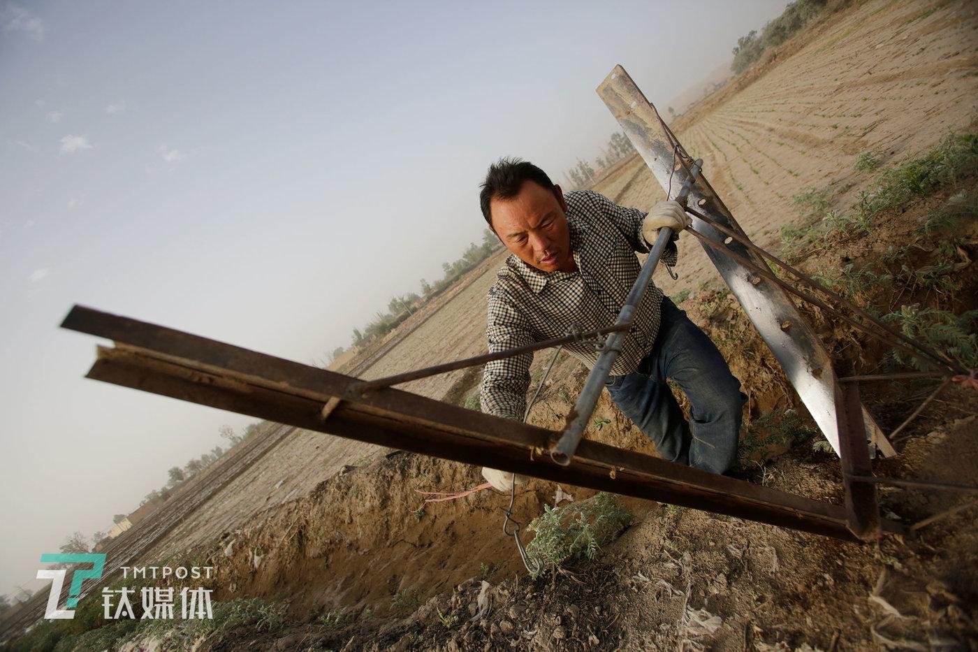 薛志明在清理刮楞子用的耙头。这是一架手工焊制的铁耙,薛志明的父辈们从前也是使用这种耙,只不过那时用的是木制的。