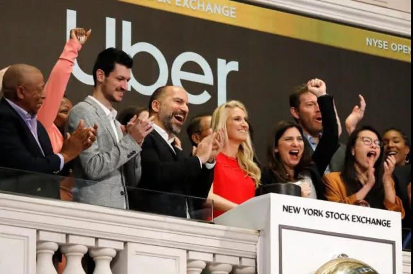 Uber首席执行官达拉·科斯罗萨西(Dara Khosrowshahi)参加该公司在纽约证交所上市活动