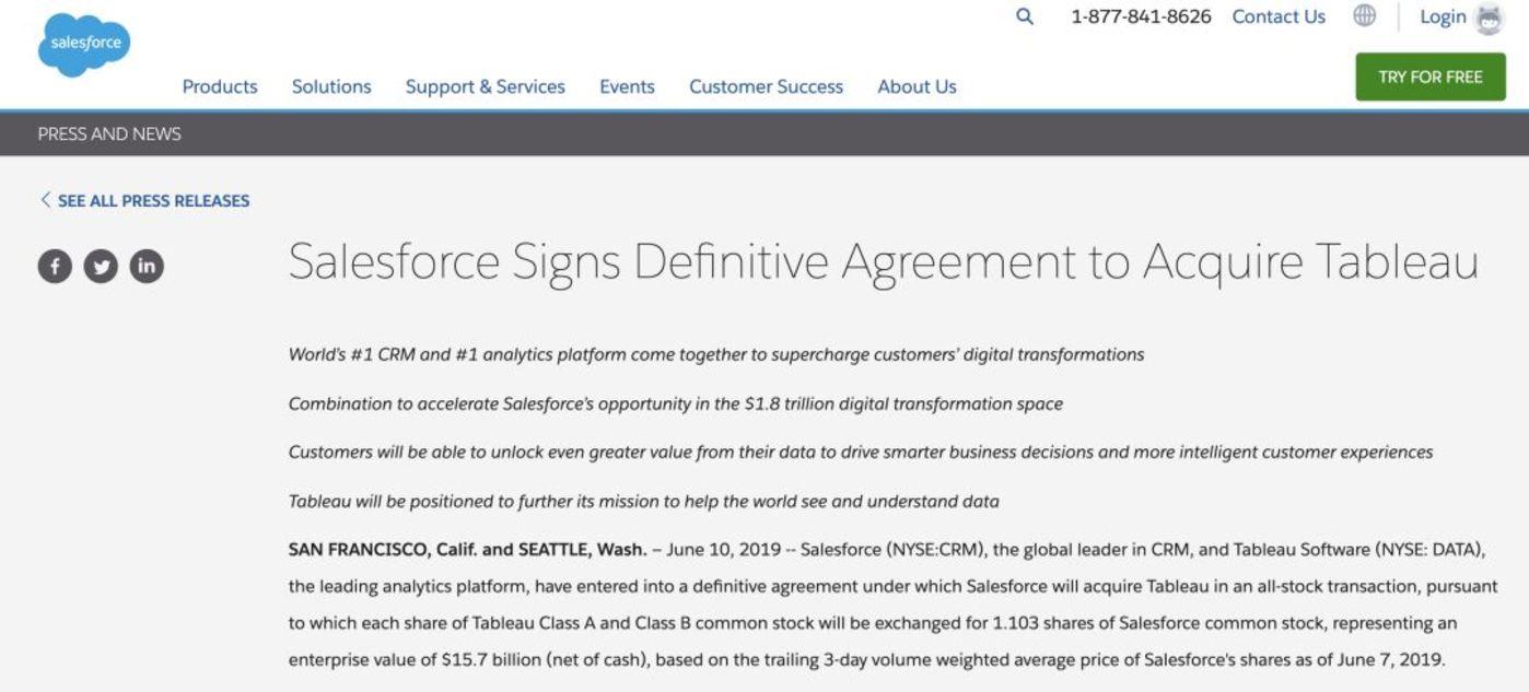 Salesforce 157 亿美元收购Tableau,全球最大CRM巨头与大数据平台在一起了