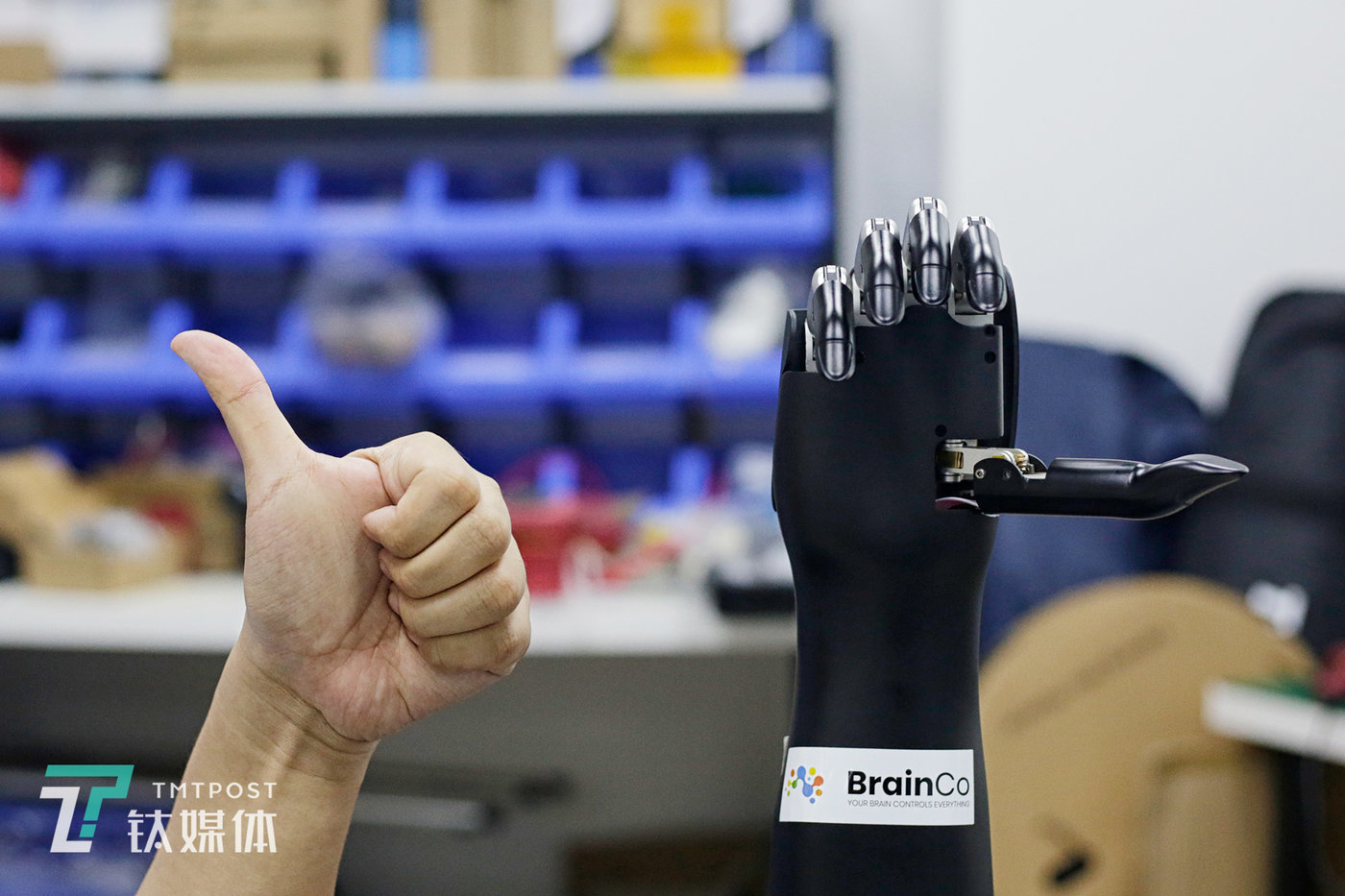 24 April, Shenzhen. Huang Qi demonstrates to TMTPOST Image how the prosthetic hand is controlled using myoelectric signals. This is a third generation BrianRobotics model. At the time, the fourth generation model was already being tested on the production line for trial mass production.
