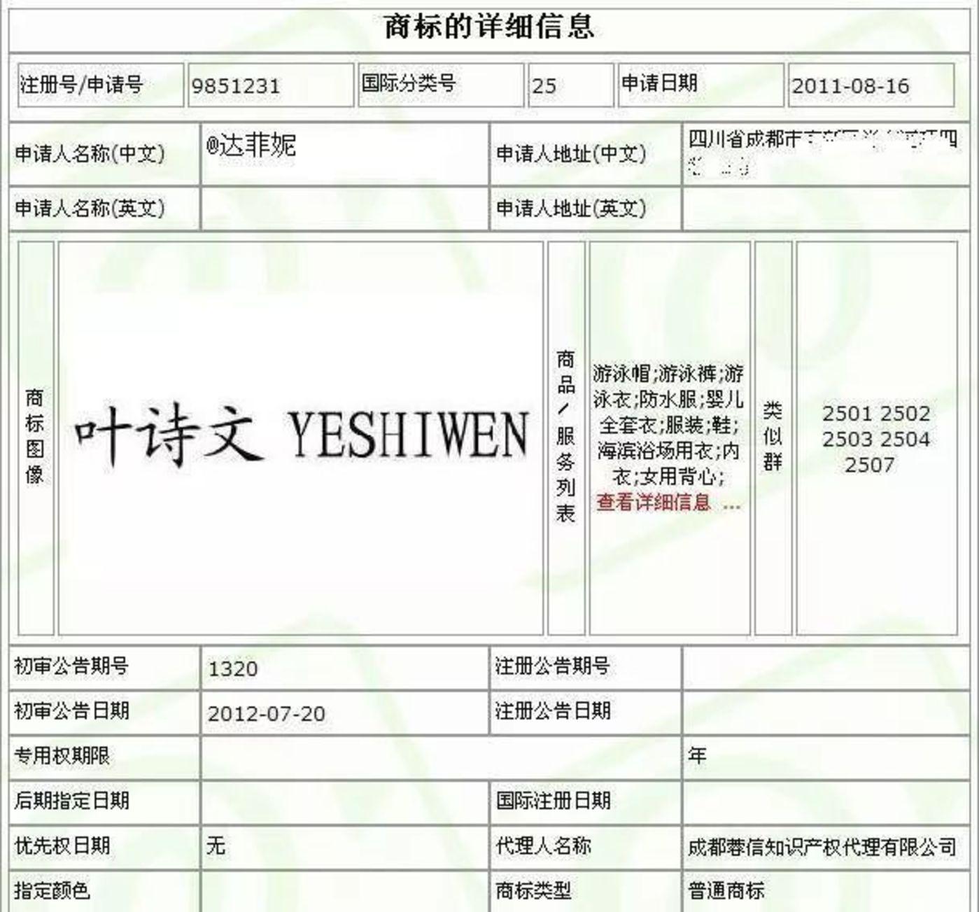 叶诗文商标2011年被注册