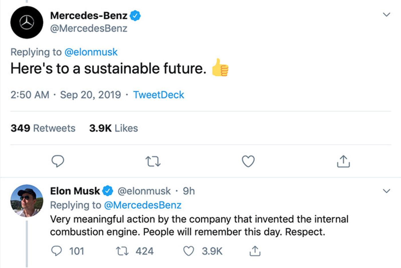 马斯克回应奔驰的Twitter截图