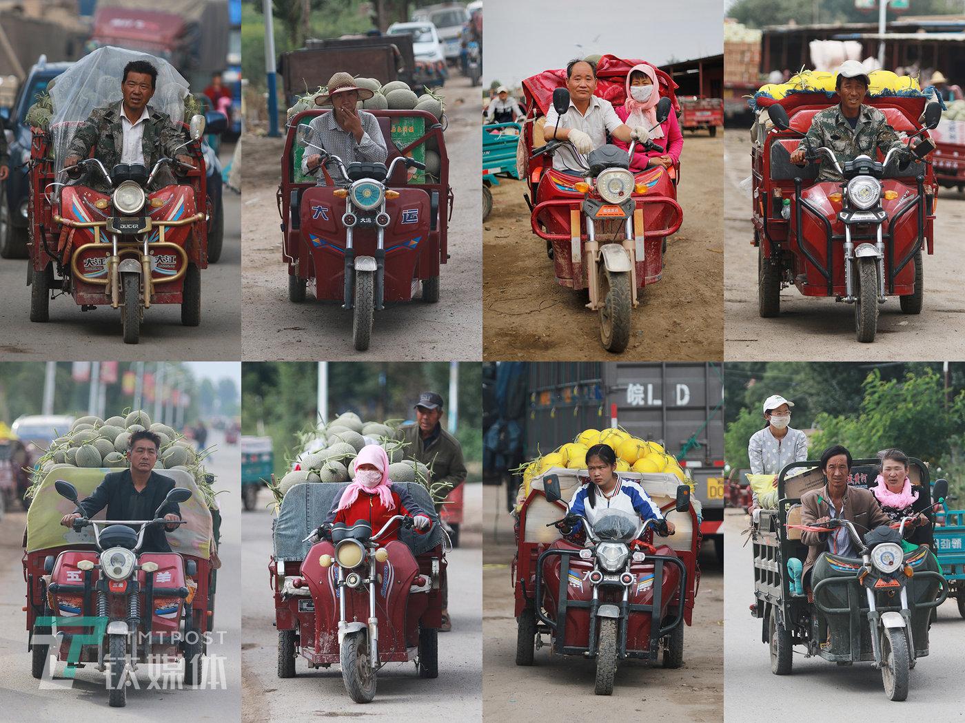 收成镇,驾驶电动三轮车的瓜农,正是暑假时间,一些返家的学生也在帮着父母卖瓜。