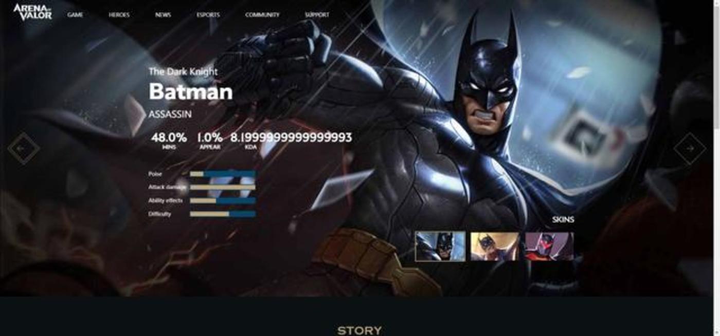 """由Garena运营,腾讯天美工作室群开发的""""王者荣耀""""海外版AOV中:腾讯大量采买了美漫DC的超级英雄IP作为其游戏角色吸引海外用户"""