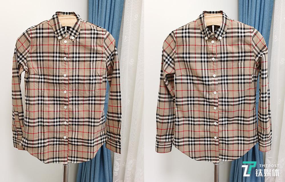 衬衫熨烫前(左边)和熨烫后(右边)对比