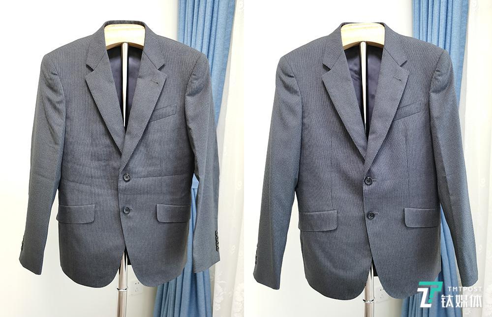 毛料西服熨烫前(左边)和熨烫后(右边)对比