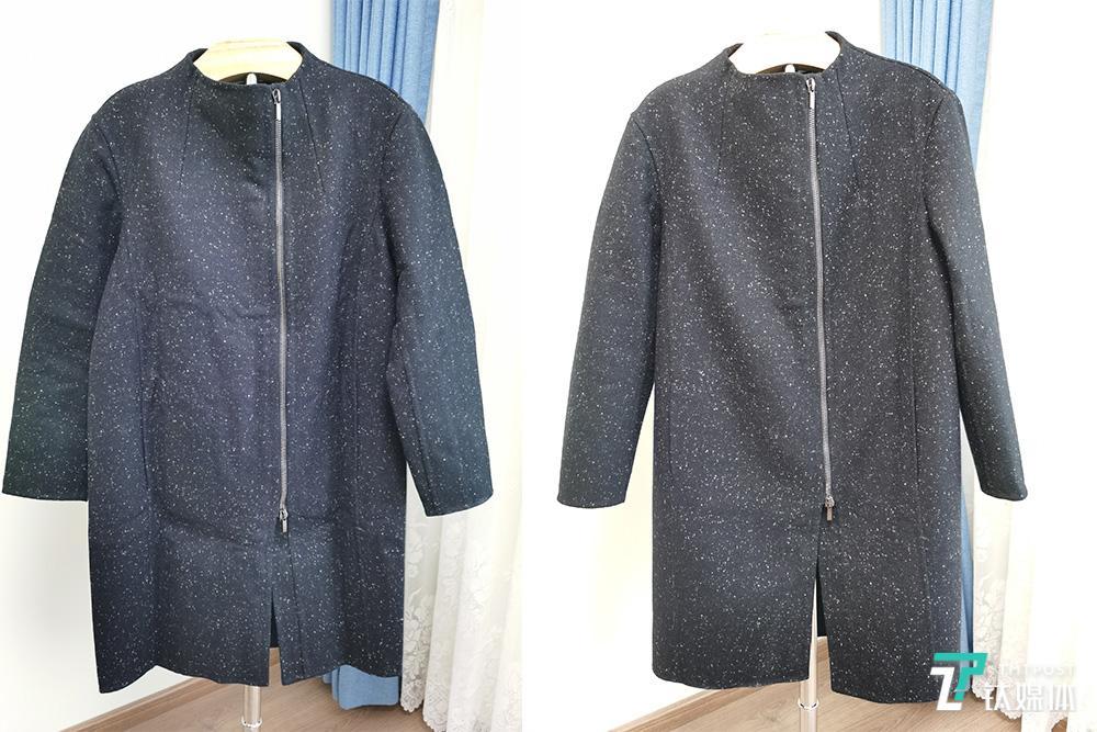呢大衣熨烫前(左边)和熨烫后(右边)对比