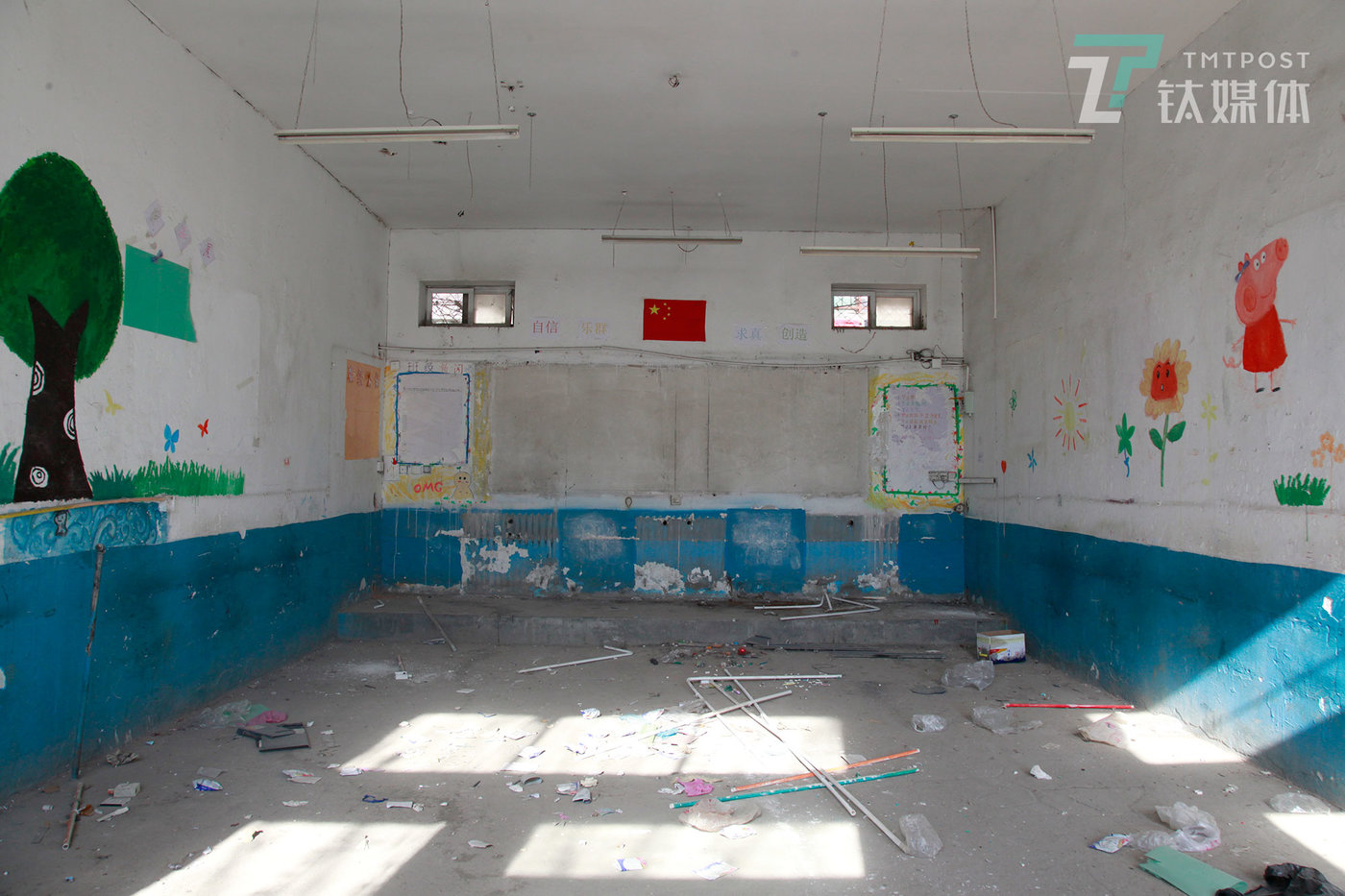 蒲公英中学旧址的教室。