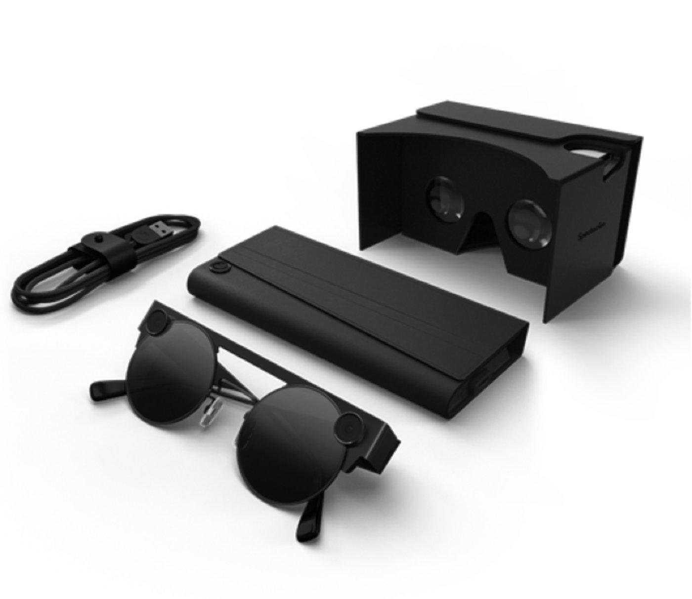 眼镜配有折叠式充电盒以及3-D查看器
