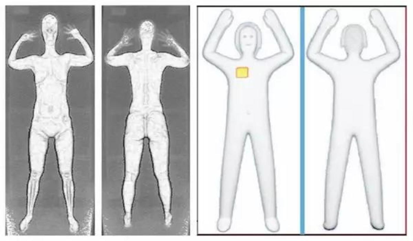 (左图x射线安检仪的成像,右图为毫米波安检仪的成像)
