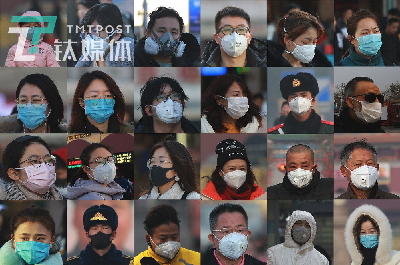 疫情阴影下,戴着口罩的国人。