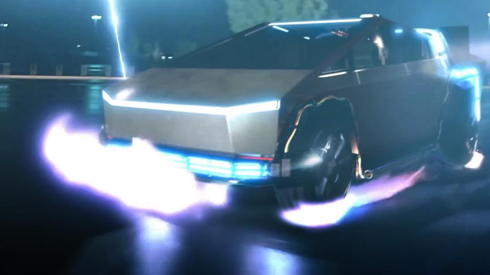 【百人牛牛视频】特斯拉Cybertruck变身《回到未来》时光机