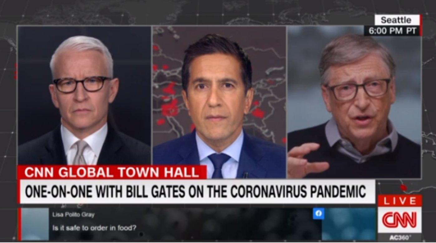 比尔·盖茨参加CNN节目截图