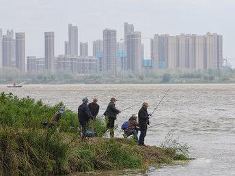 【图集】武汉:垂钓者重拾鱼竿来到长江边