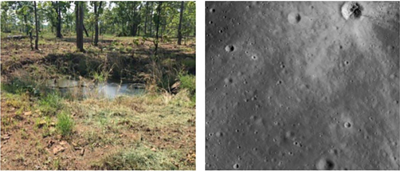 炸弹坑(左)与流星陨石坑(右)
