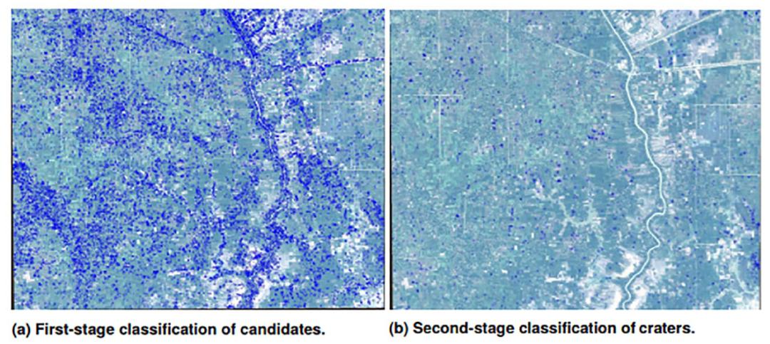 第一阶段 83% 的候选陨石坑在第二阶段改进后被丢弃