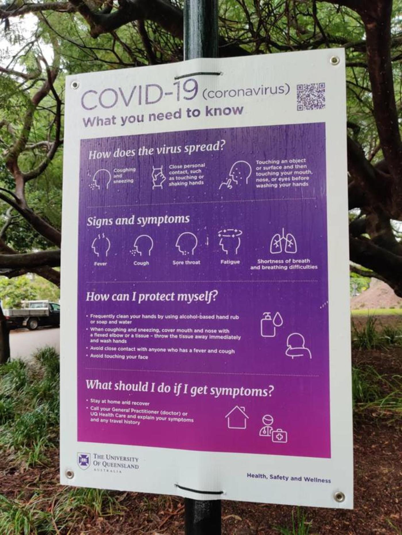 图:昆士兰大私塾园内的防疫标识
