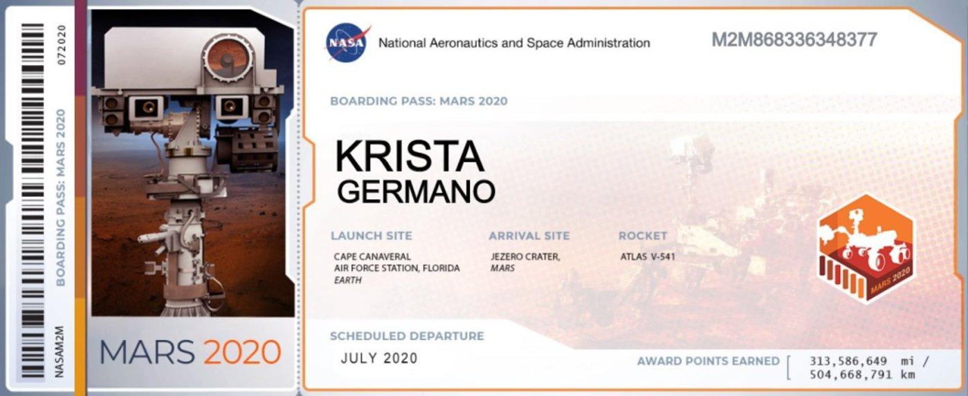 "火星""登机牌"" 图/NASA"
