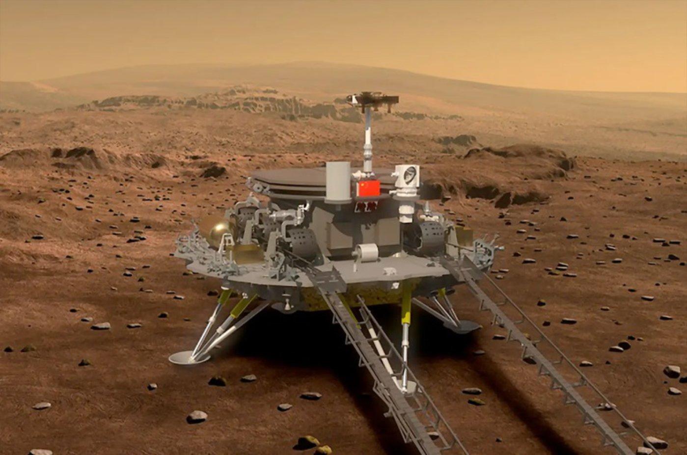 """""""天问一号""""着陆器和火星车组合 图/国家航天局"""
