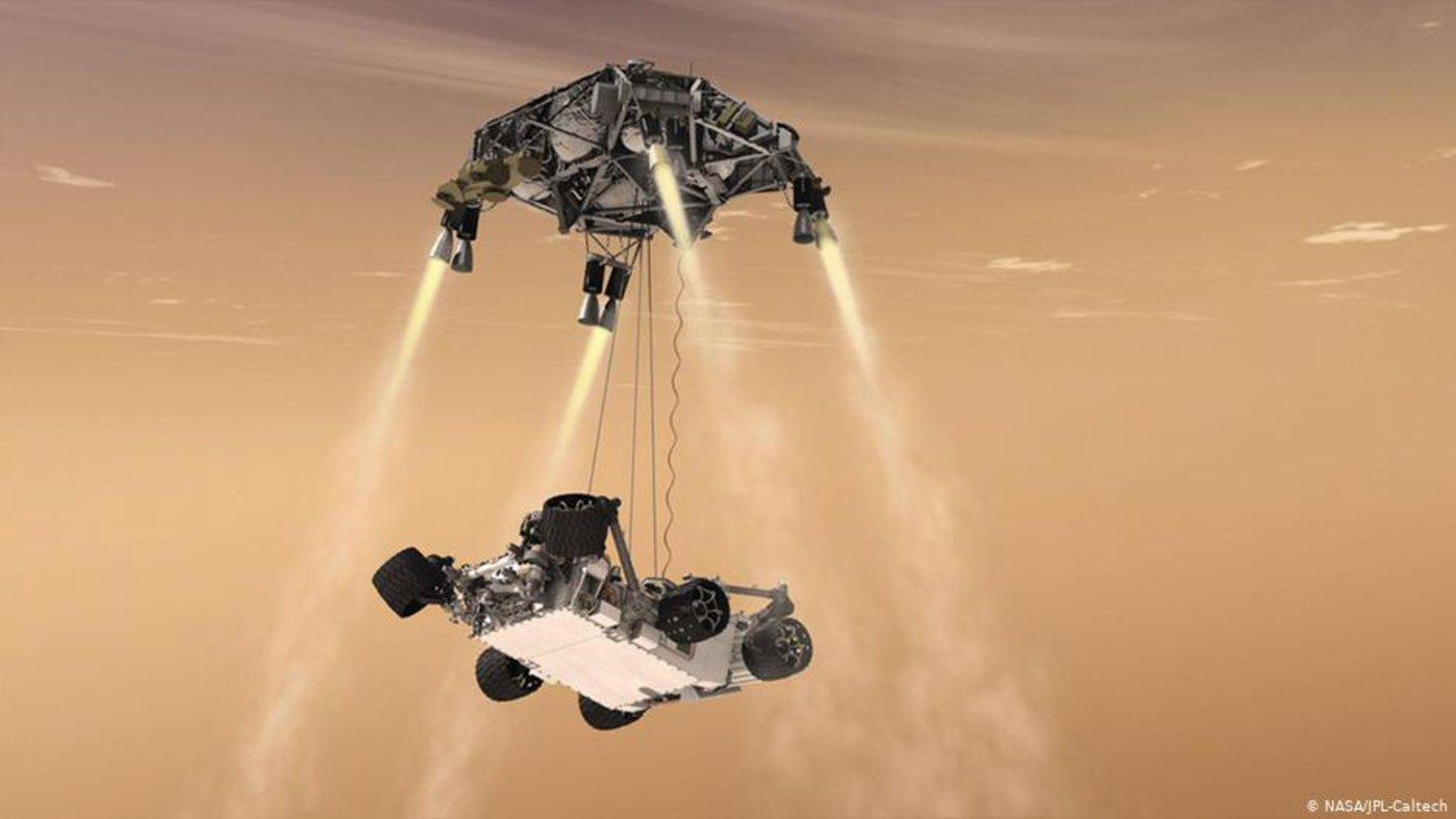 """2012年登陆火星的""""好奇""""号火星车利用""""天空发动机""""着陆 图/NASA"""
