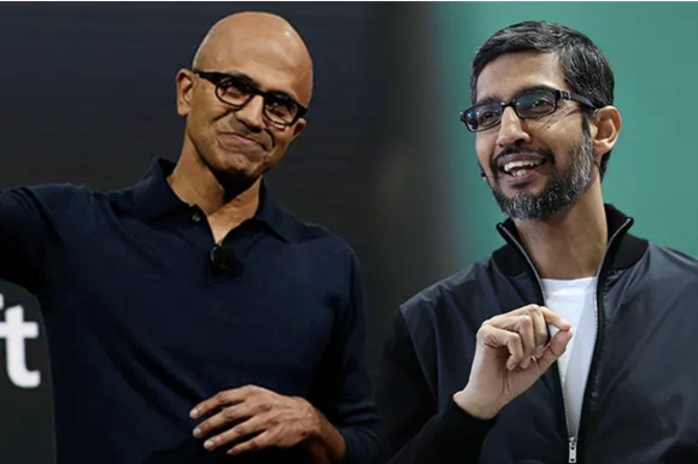Satya Nadella和Sundar Pichai(左至右)/日经新闻评论