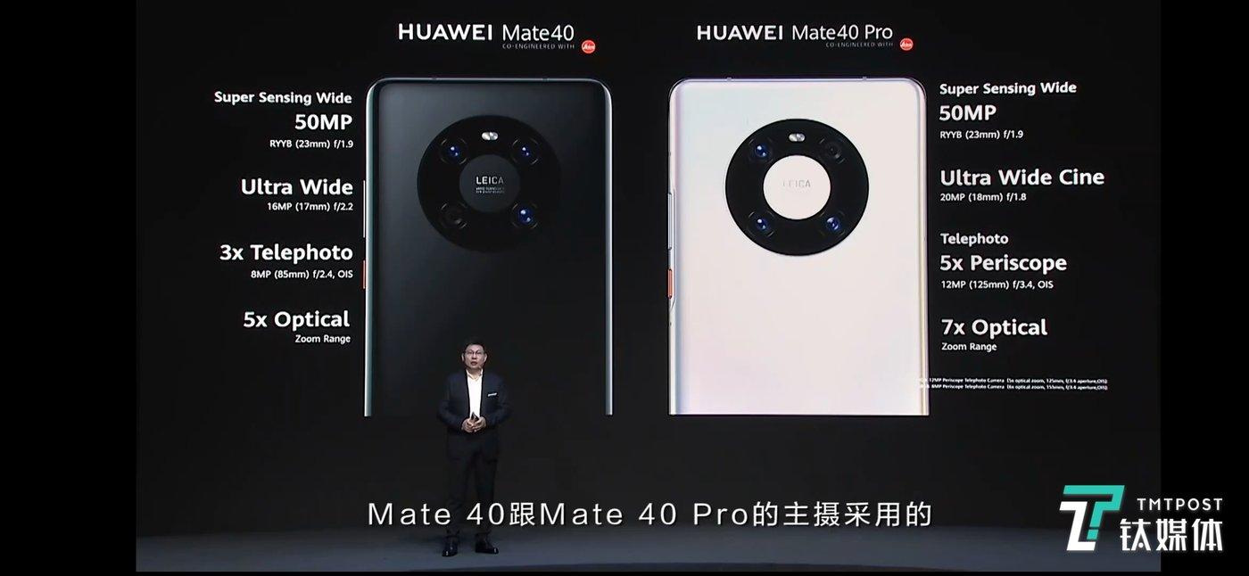 华为Mate40(左)与华为Mate40 Pro(右)拍照硬件对比