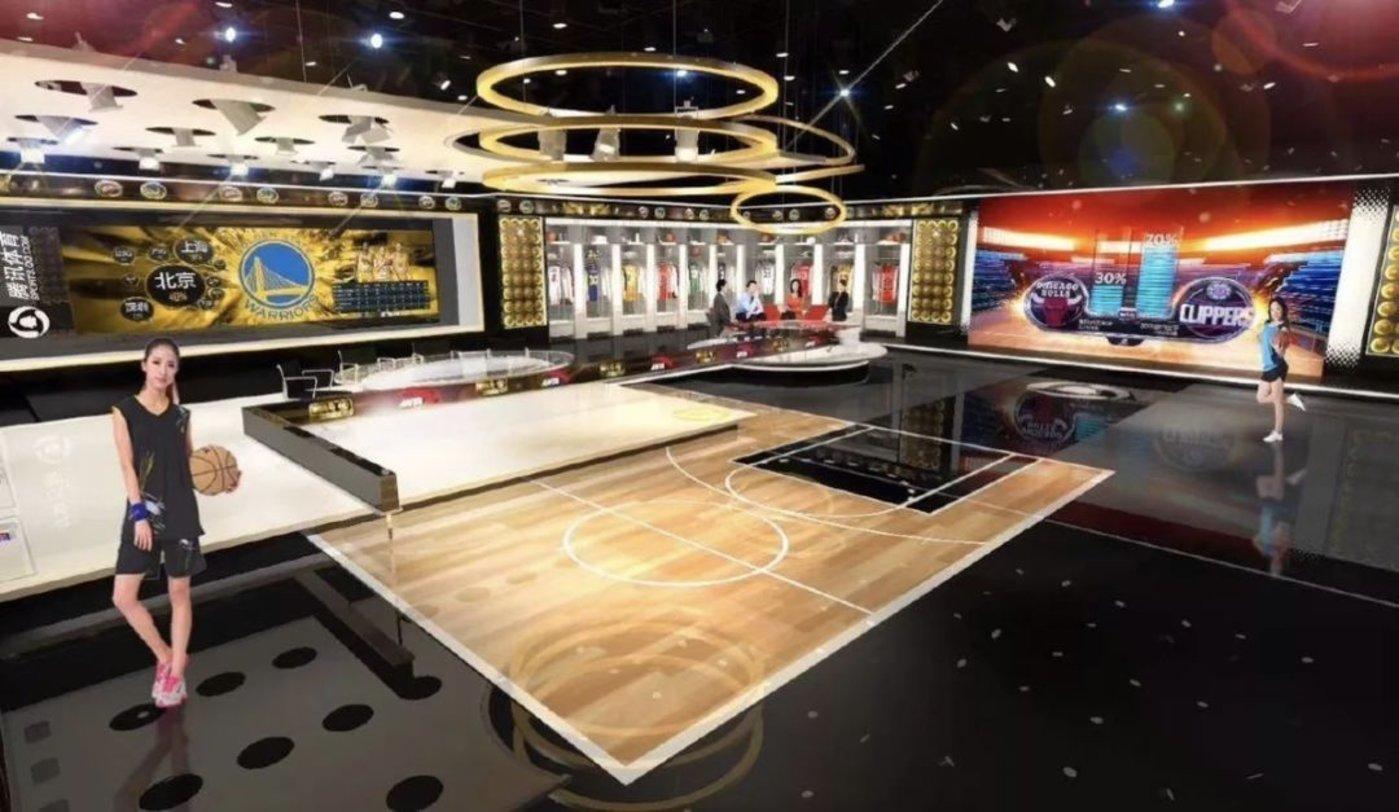 腾讯体育为转播NBA比赛新建的演播室