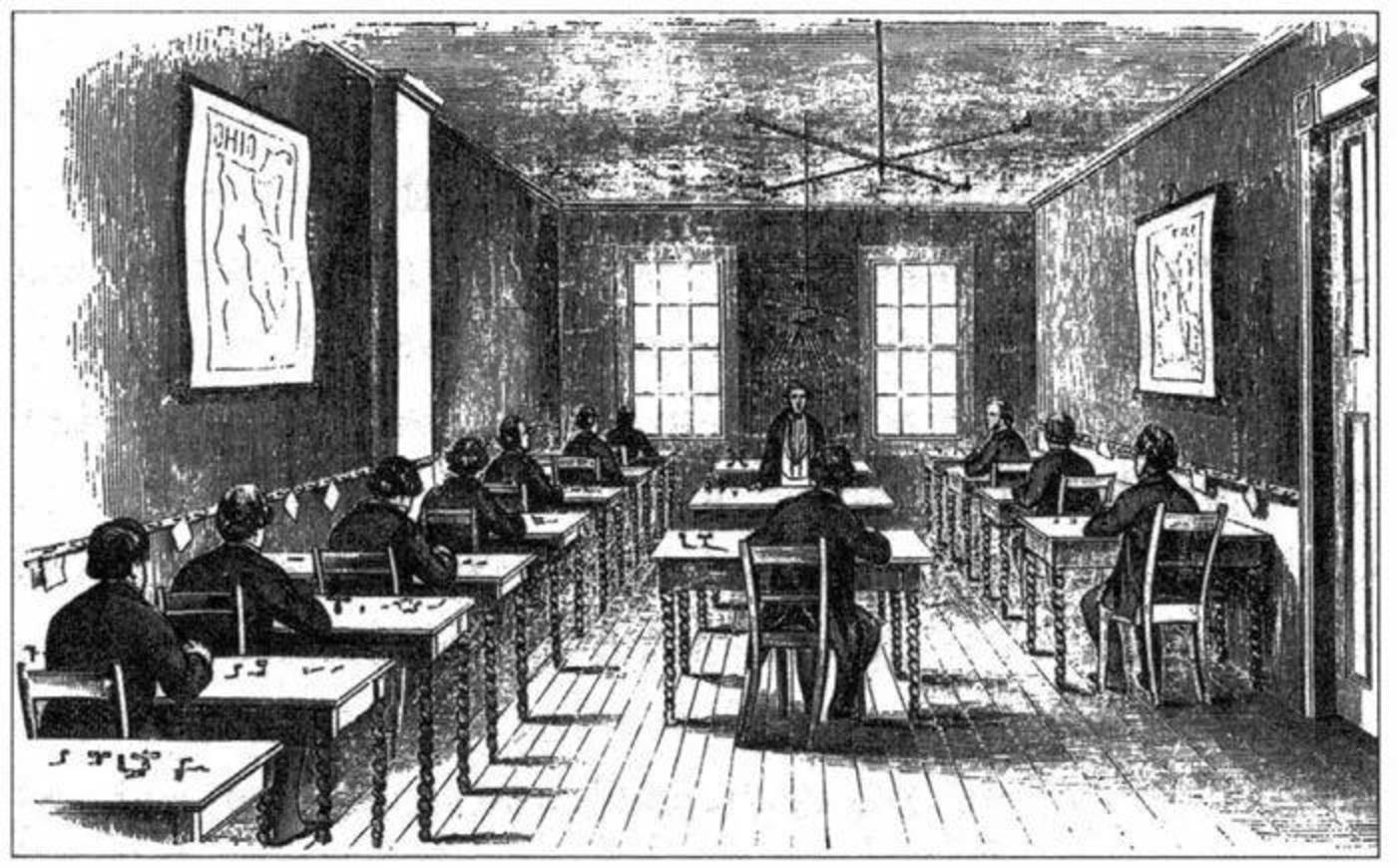 典型的美国电报站,中等规模。电报员坐在木质办公桌边,每人装备一台摩尔斯键盘和一台发声器