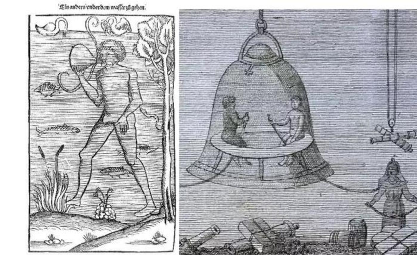 (左:达芬奇发明的草图;右:哈雷发明的原型图)
