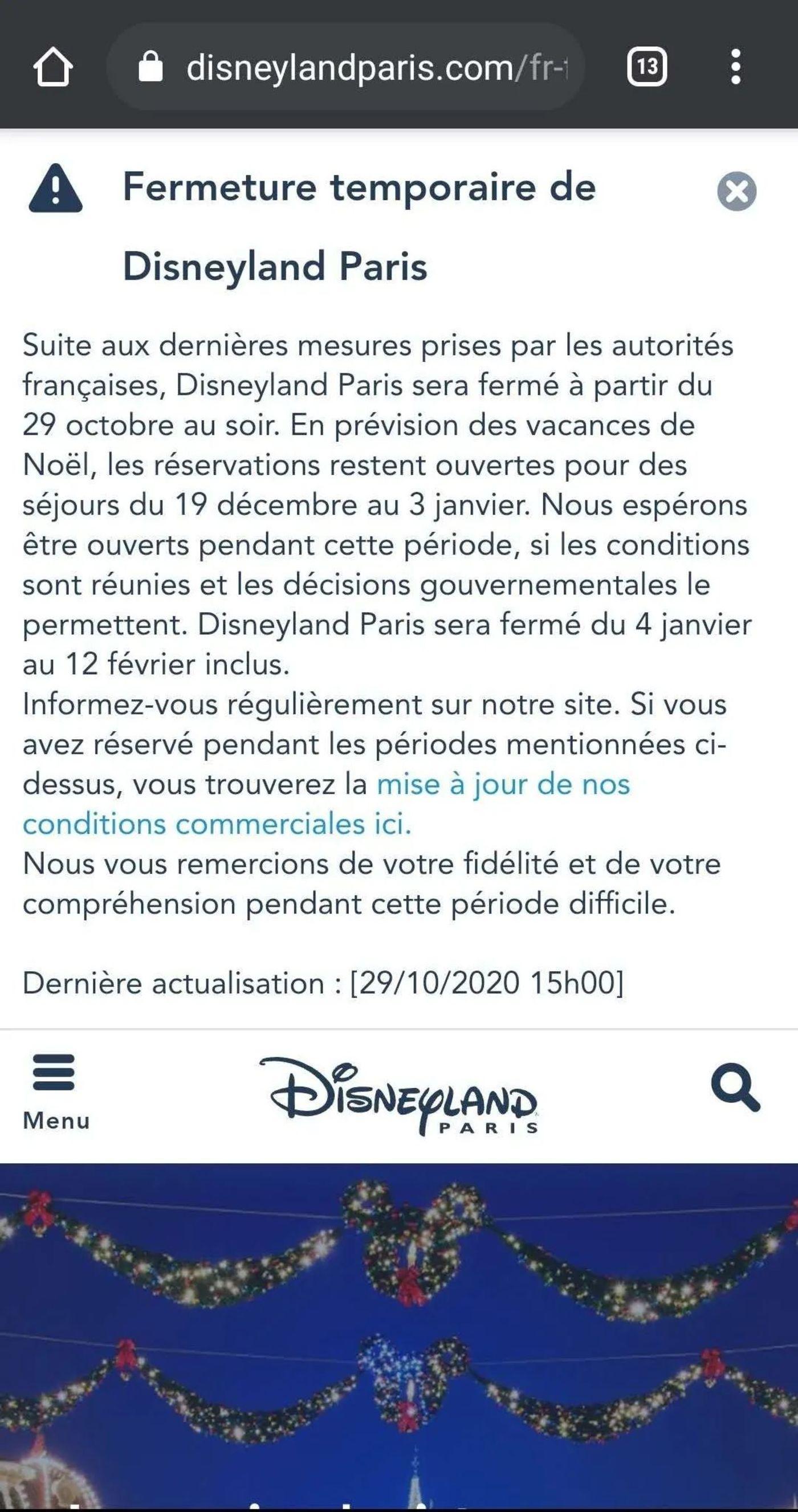 法国巴黎迪士尼10.29发布的消息,暂时关闭到圣诞