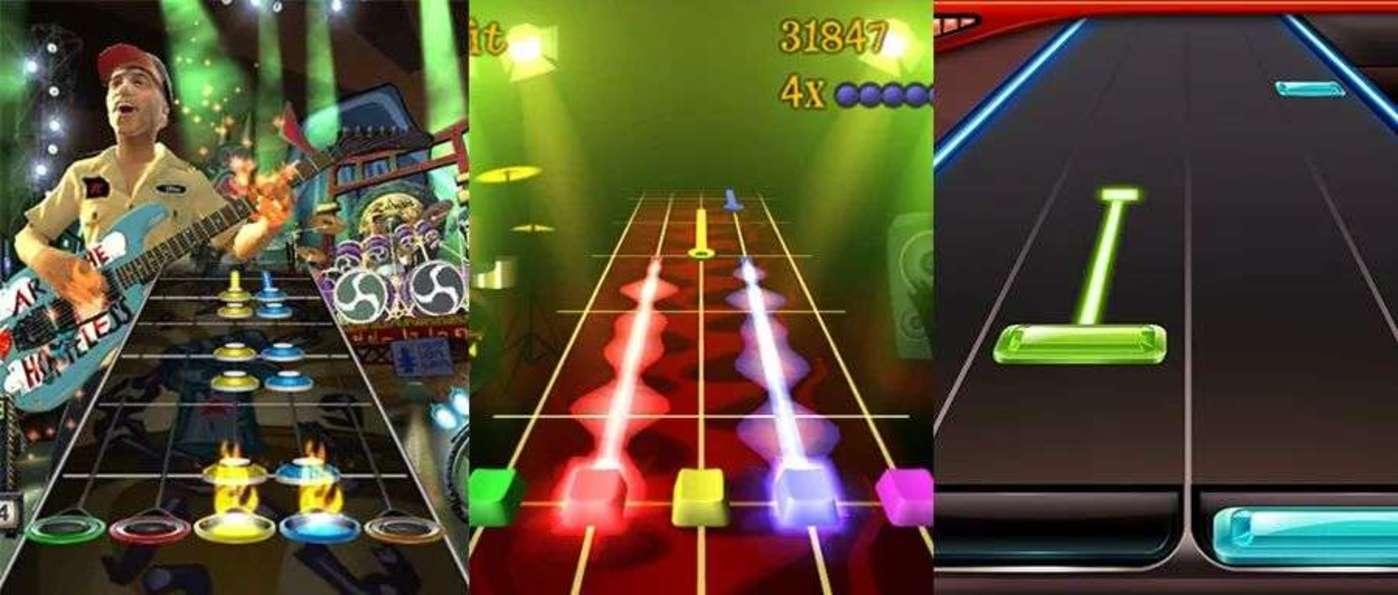 从左到右分别为《吉他英雄》《热火吉他手》《节奏大师》的游戏界面