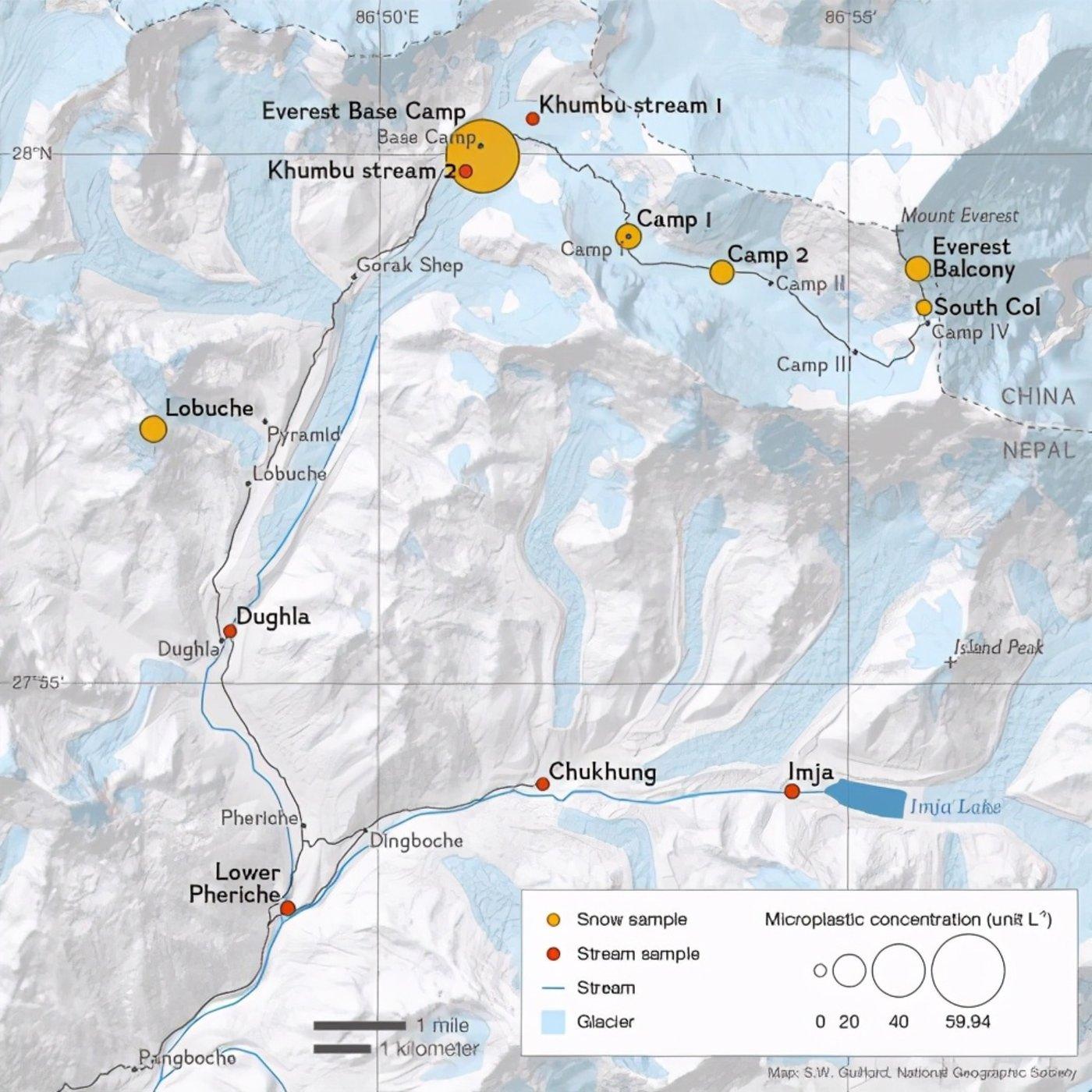 图   珠穆朗玛峰上的微塑料样本采集地点地图(来源:One Earth)