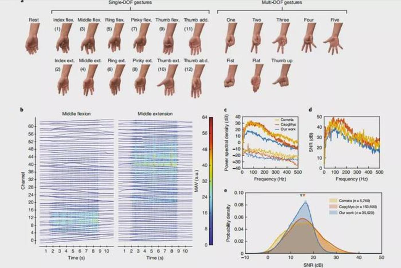 图 | 研究中使用的手势类别和 sEMG 记录特征(来源:Nature Electronics)