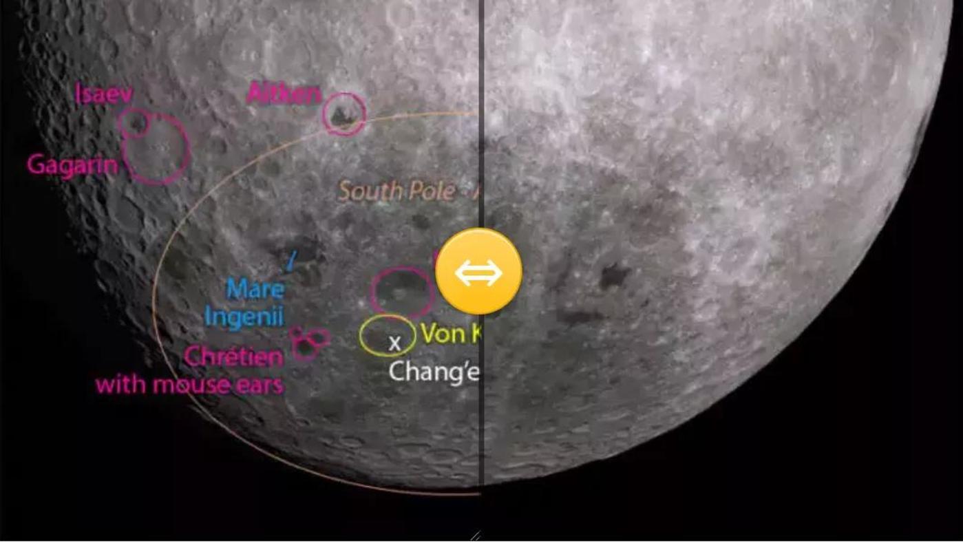 月球南极及嫦娥四号着陆点的模拟视图(来源:planetary society)