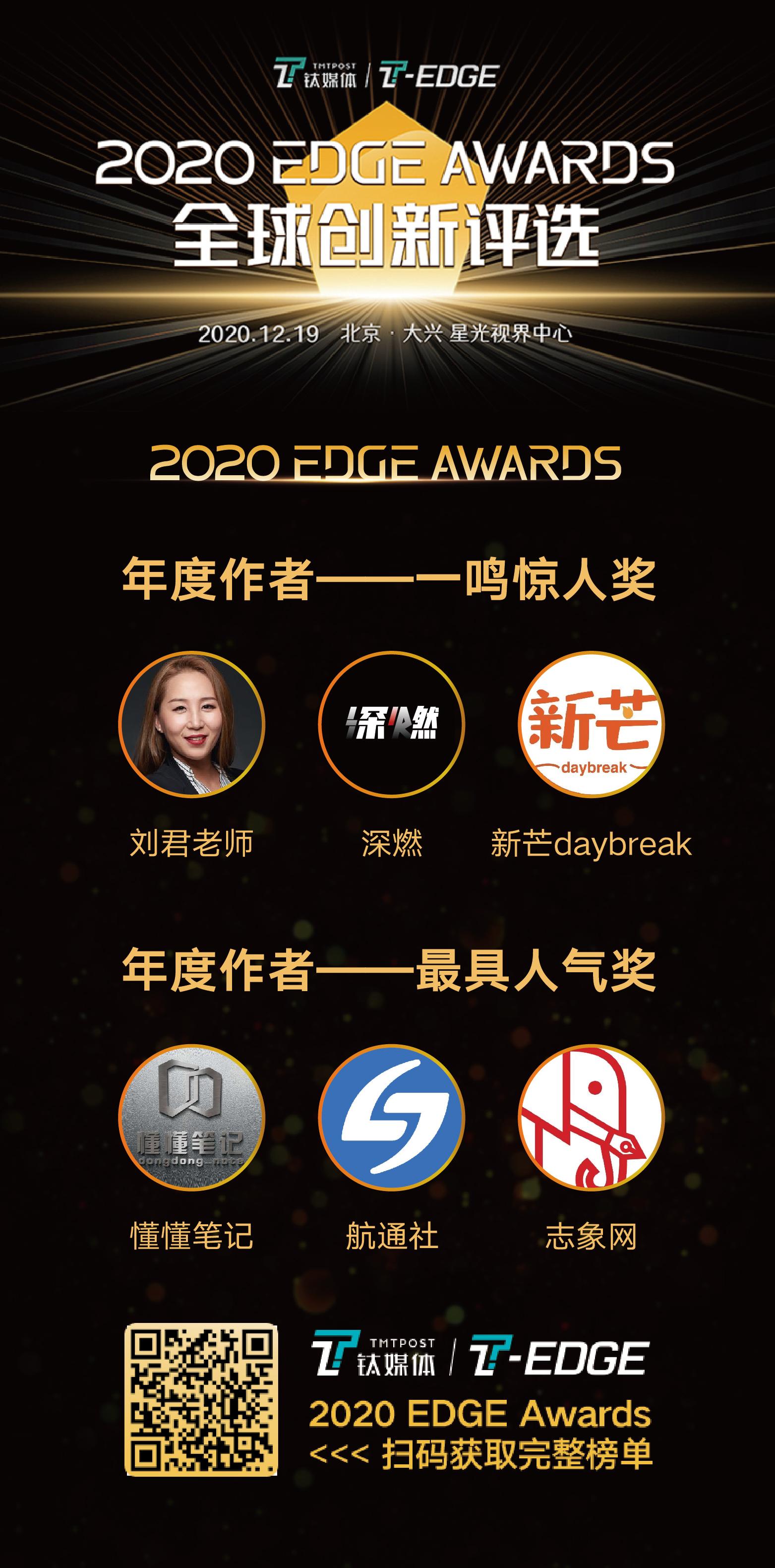 钛媒体 2020 EDGE Awards 全球创新评选