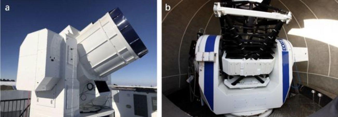 图 地面硬件设施:(a) 南山地面站的1.2米望远镜;(b) 兴隆地面站的1米望远镜(来源:Nature)