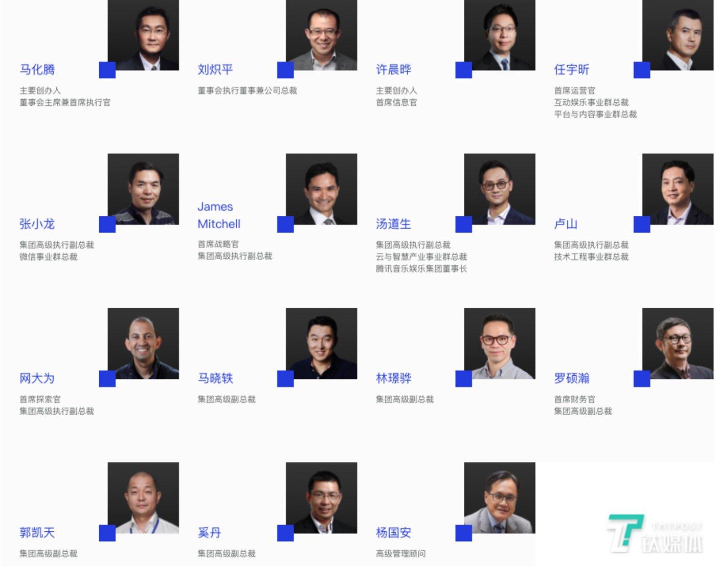腾讯控股官网上的管理团队成员,目前有15人