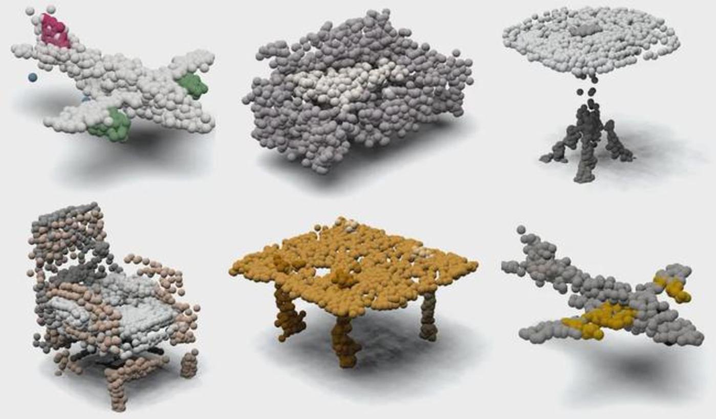 图   PCGAN 合成的 3D 点云图像,飞机、桌椅等(来源:该论文)