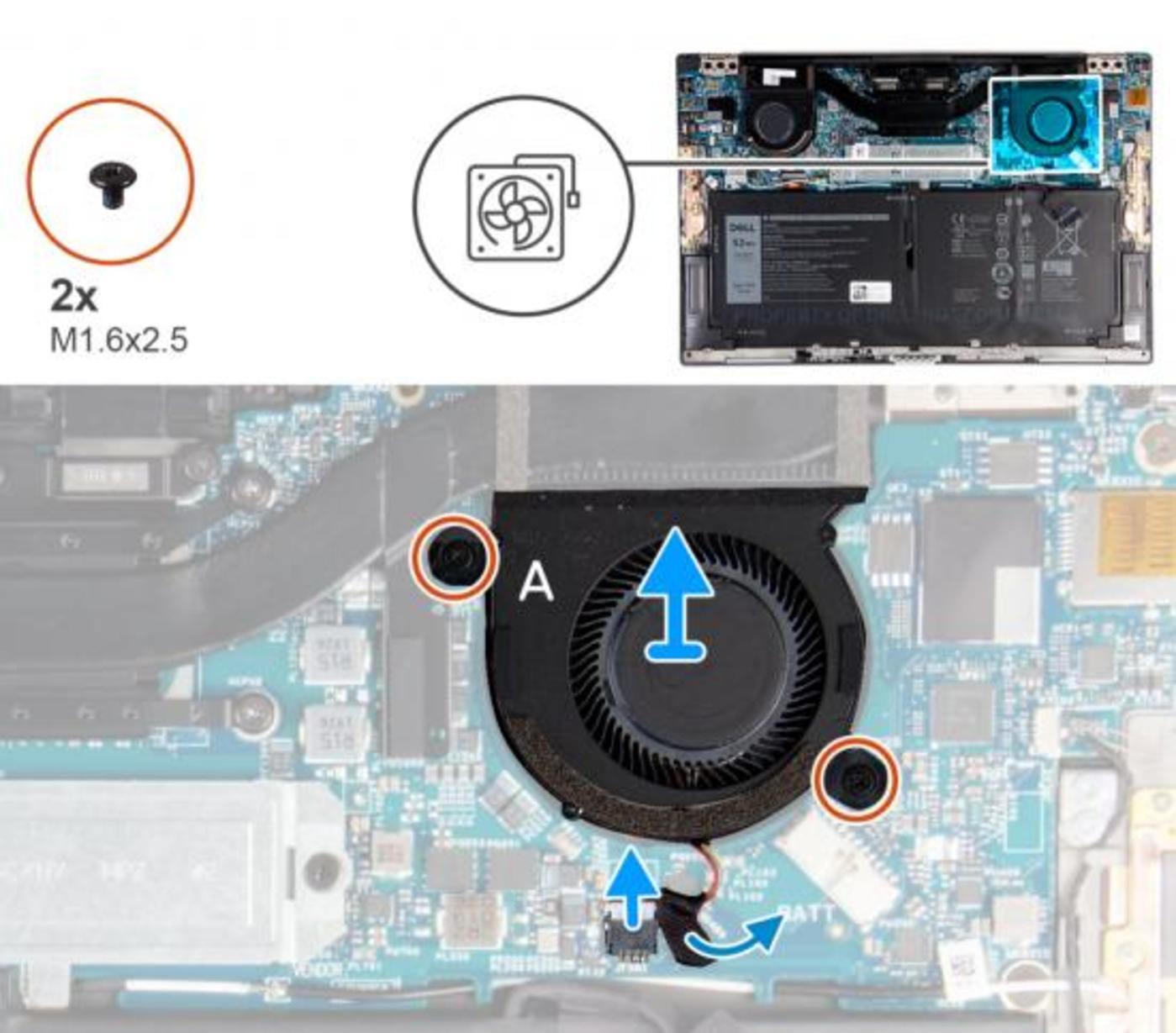 戴尔XPS拆机图,左右侧各有一个风扇