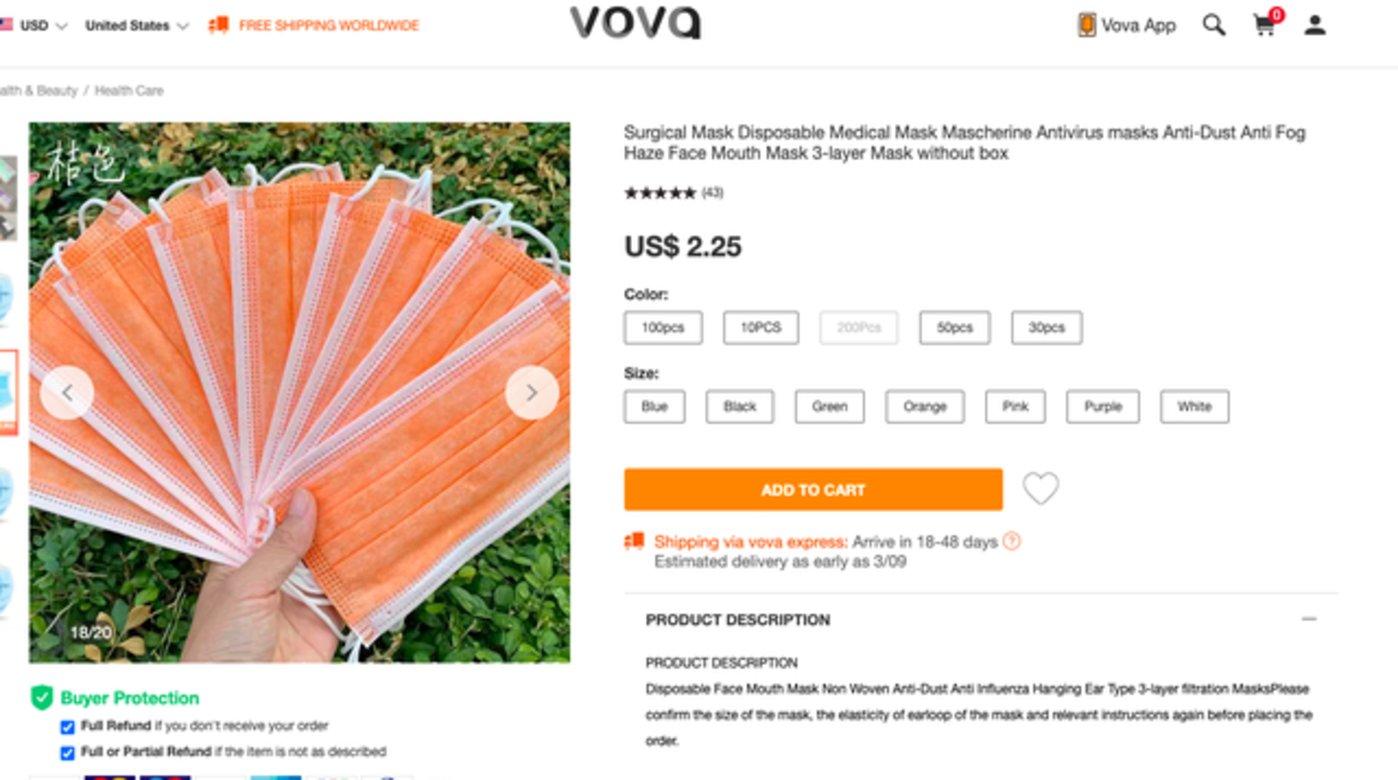 Vova上的口罩照片中用中文标记着颜色