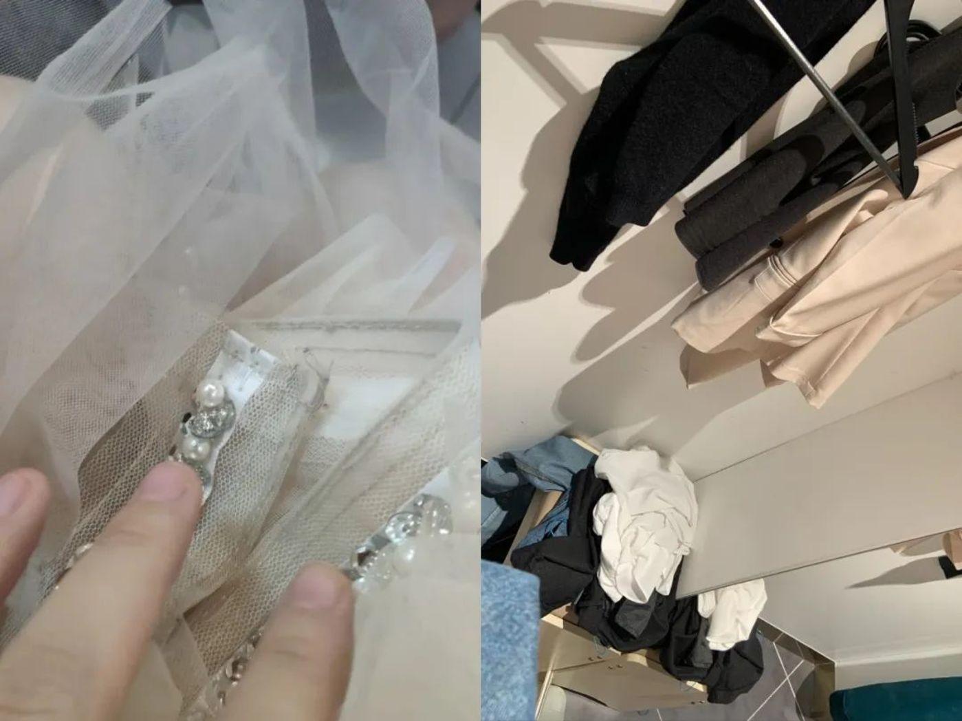 脏的服装和混乱的更衣室