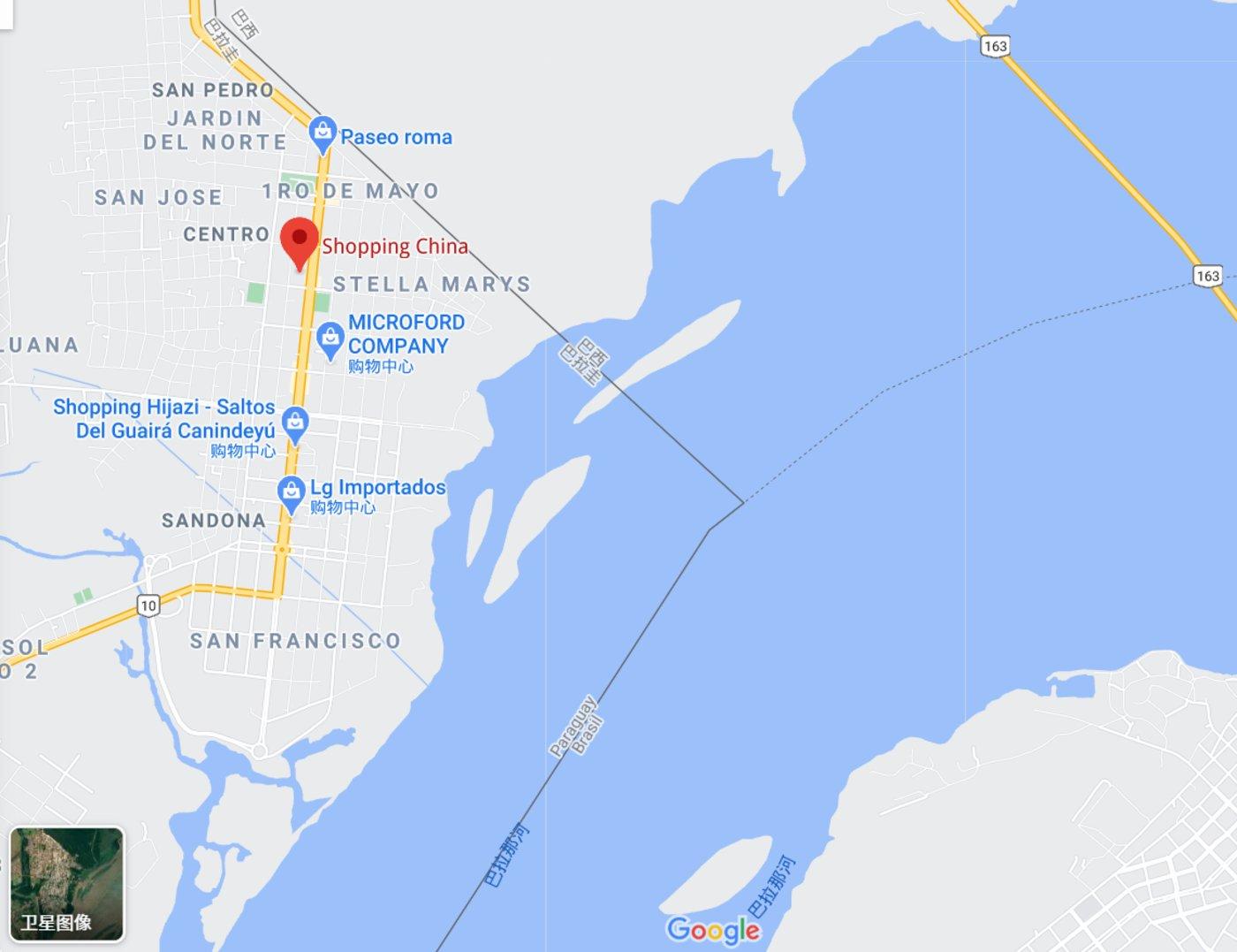 位于巴拉圭与巴西交界处的Shopping China/来源:谷歌地图