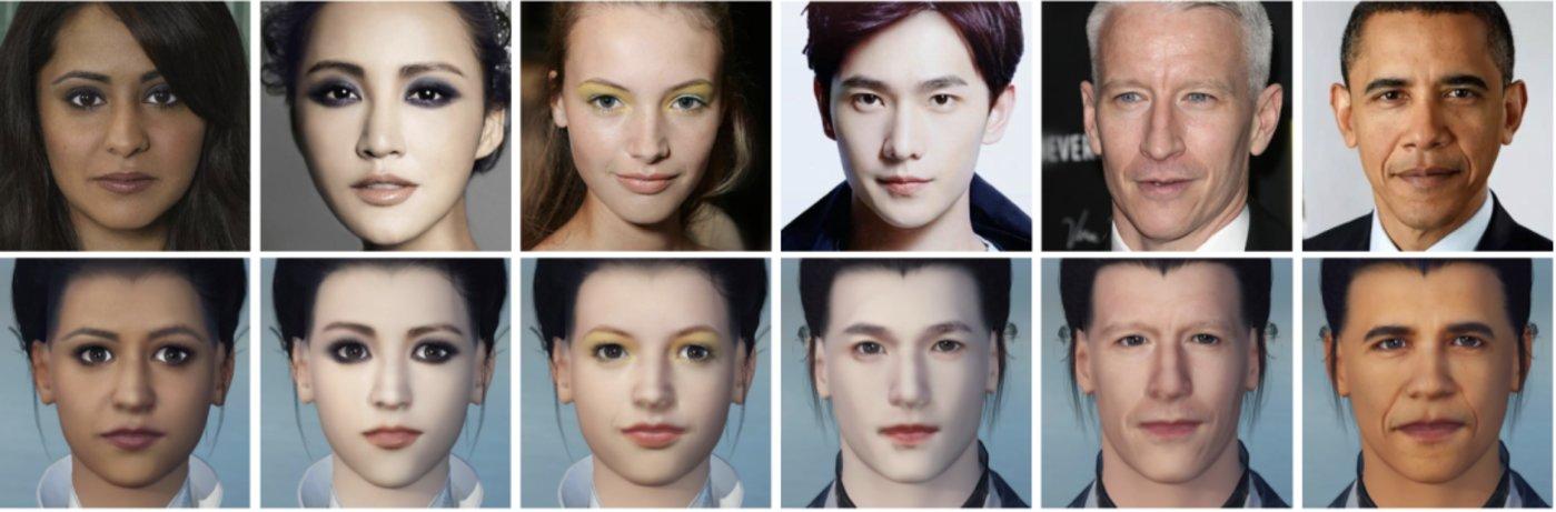 图 第一行为输入肖像;第二行是由 MeInGame 方法生成的游戏中的角色;MeInGame 方法对光照变化、阴影和遮挡具有很强的鲁棒性,可以很好还原个性化的细节,如肤色、妆容和皱纹等。(来源:arxiv)
